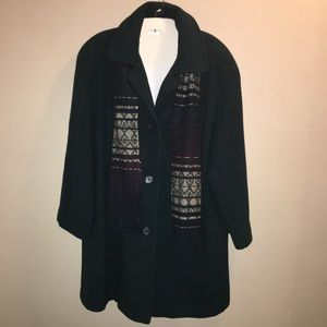 Cabin creek wool blend pea coat with scarf.